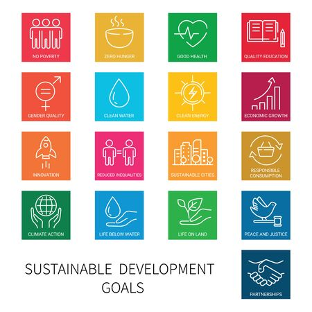 Set of square colored icons of global business, economics and marketing. Linear style icons. Sustainable Development Goals. Isolated Stock Illustratie
