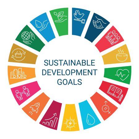 Symbole setzen globales Geschäft, Wirtschaft und Marketing. Lineare Stilikonen. Nachhaltige Entwicklungsziele. Isoliert Vektorgrafik