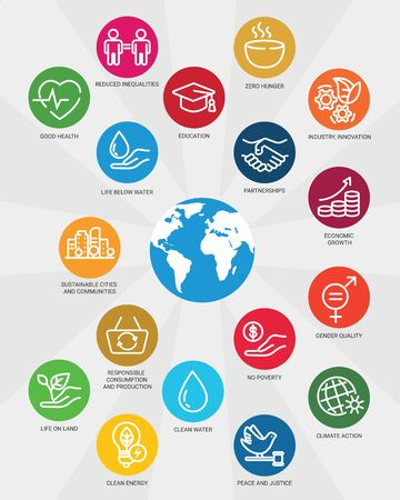 Icons set global business, economics and marketing. Linear style icons. Sustainable Development Goals. Isolated Иллюстрация