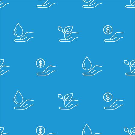 No poverty, life on earth and water. Linear style pattern. Sustainable Development Goals. Isolated background. Illustration