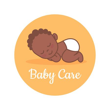 Sleeping Newborn. Black baby. Pediatric clinic logo in a linear style. Colored Vector illustration. White isolated background. Baby care. Illustration