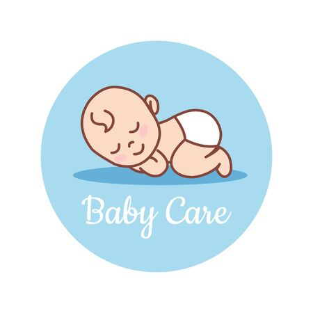 Sleeping Newborn. Pediatric clinic logo in a linear style. Colored Vector illustration. White isolated background. Baby care.