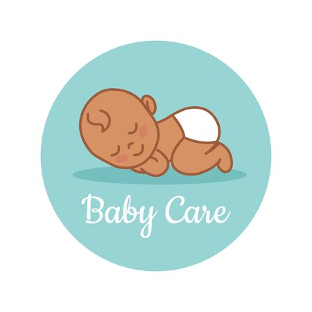 Sleeping Newborn. Indian baby. Pediatric clinic logo in a linear style. Colored Vector illustration. White isolated background. Baby care. Illustration