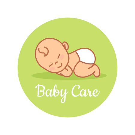 Sleeping Newborn. Chinese baby. Pediatric clinic logo in a linear style. Colored Vector illustration. White isolated background. Baby care. Illustration