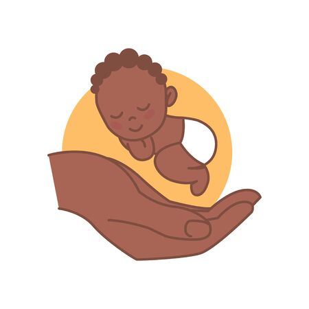 Sleeping Newborn on Hand. Black baby. Pediatric clinic logo in a linear style. Colored Vector illustration. White isolated background. Baby care.