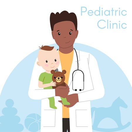Pediatric Checkup. The Black Doctor holds the Baby in his arms. Vector illustration in a Flat style. White Isolated background. Baby Care.
