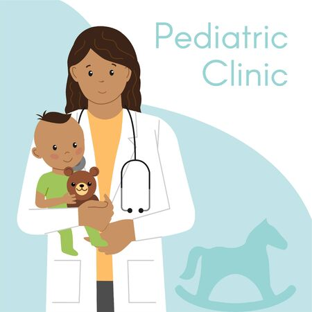 Pediatric Checkup. The Woman Indian Doctor holds the Indian Baby in his arms. Vector illustration in a Flat style. White Isolated background. Baby Care. Vetores