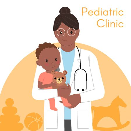 Pediatric Checkup. The Black Woman Doctor holds the Black Baby in his arms. Vector illustration in a Flat style. White Isolated background. Baby Care.