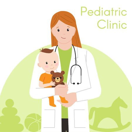 Pediatric Checkup. The Doctor holds the Baby in his arms. Vector illustration in a Flat style. White Isolated background. Baby Care.