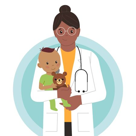 Pediatric Checkup. The Black Woman Doctor holds the Indian Baby in his arms. Vector illustration in a Flat style. White Isolated background. Baby Care.