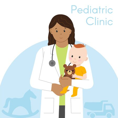Pediatric Checkup. The Woman Indian Doctor holds the Baby in his arms. Vector illustration in a Flat style. White Isolated background. Baby Care.