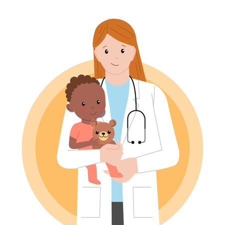 Pediatric Checkup. The Doctor holds the Black Baby in his arms. Vector illustration in a Flat style. White Isolated background. Baby Care. Vector Illustration