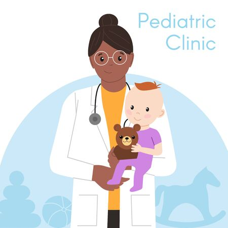 Pediatric Checkup. The Black Woman Doctor holds the Baby in his arms. Vector illustration in a Flat style. White Isolated background. Baby Care.