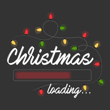 Christmas Loading. Christmas Lights. Greetings Card with Handwritten Text on Dark Background. Vector Illustration EPS. Isolated. Иллюстрация