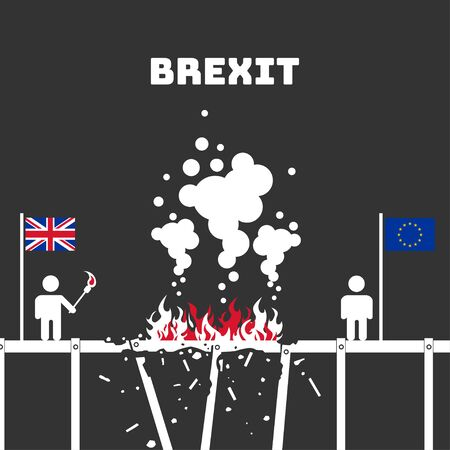 Brexit. The exit of the UK (United Kingdom or British) from the EU (European Union). Britain burns the bridge. Vector illustration. Dark isolated background.