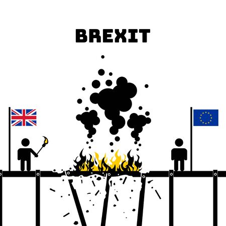 Brexit. The exit of the UK (United Kingdom or British) from the EU (European Union). Britain burns the bridge. Vector illustration. White isolated background.