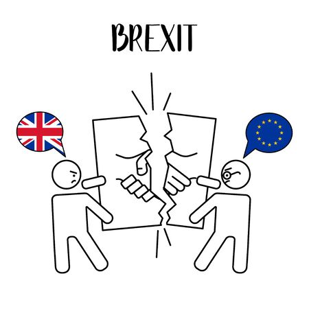 Brexit. The exit of the UK (United Kingdom or British) from the EU (European Union). UK breaks relations with EU. Vector illustration. White Isolated background.