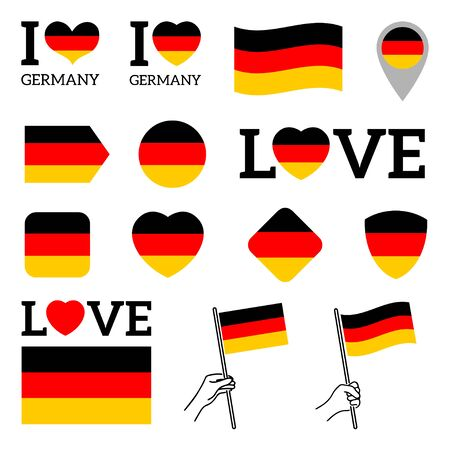 Flag of Germany. Set of vector Flags of various shapes. I love Germany. illustration. White isolated background.