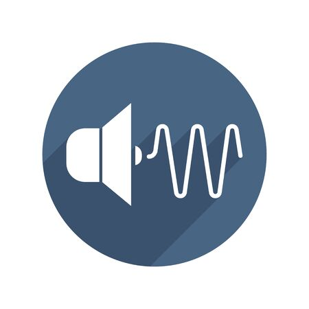 Sound Wave Flat Icon with Long Shadow. Vector Illustration. White Isolated background. Physics and Science Ilustração