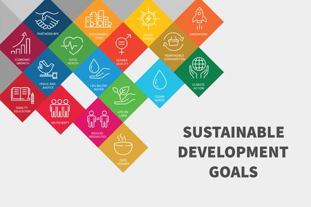 Icons set global business, economics and marketing. Linear style icons. Sustainable Development Goals. Isolated