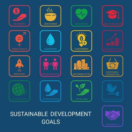 Icons Set Global Business, Economics and Marketing. Flat style icons. Sustainable Development Goals. Isolated Dark Background