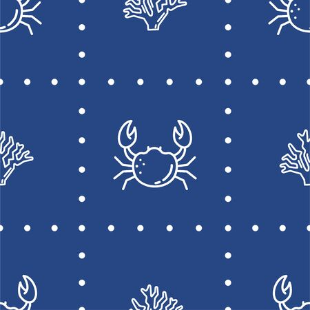 Crab and Coral. Colored Vector Patterns in a Linear style. Marine life, ocean, oceanology. Isolated Pattern for notebook, textile, packaging.