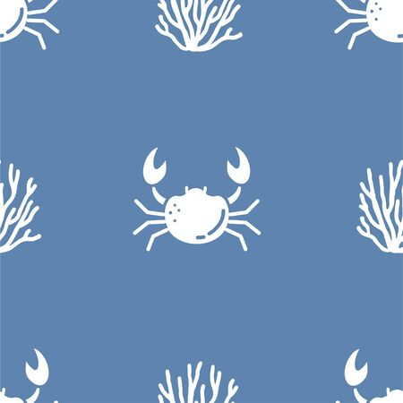 Crab and Coral. Colored Vector Patterns in a Flat style. Marine life, ocean, oceanology. Isolated Pattern for notebook, textile, packaging.