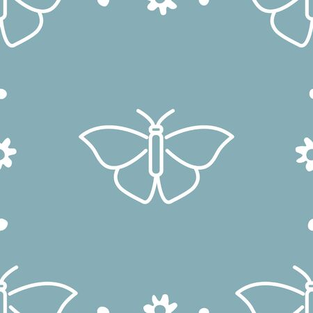 Butterfly and flowers. Colored Vector Patterns in a Linear Style. Biology, Science, Entomology, Zoology. Vector illustration. Isolated background