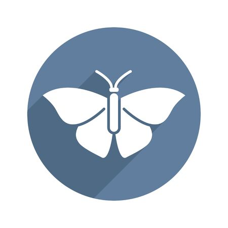Butterfly Circle Icon Flat with long Shadow. Biology, Science, Entomology, Zoology. Vector illustration. White isolated background Ilustrace