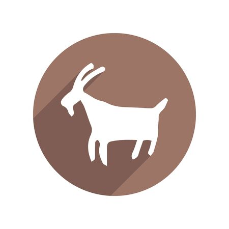 Petroglyph Goat Circle Icon Flat with long Shadow. Anthropology, Archeology, History. Vector illustration. White isolated background