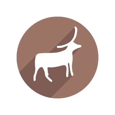 Petroglyph Bull Circle Icon Flat with long Shadow. Anthropology, Archeology, History. Vector illustration. White isolated background 矢量图像