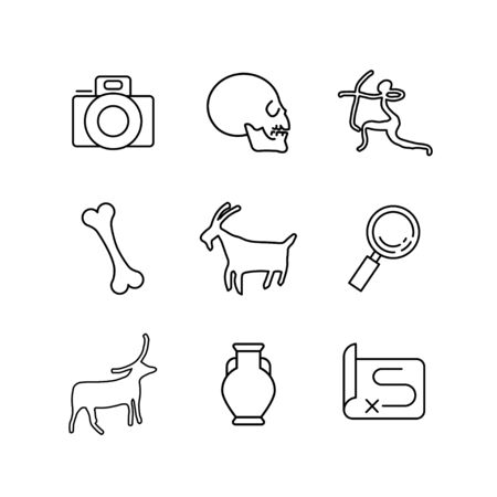 Anthropology and Archeology Icons Set for Science, School, University. Linear Style.