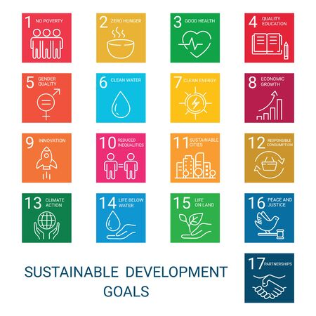 Icons Set Global Business, Economics and Marketing. Linear Style Icons. Sustainable Development Goals. White Isolated Background