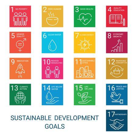 Set di icone Global Business, economia e marketing. Icone di stile lineare. Obiettivi di sviluppo sostenibile. Sfondo bianco isolato