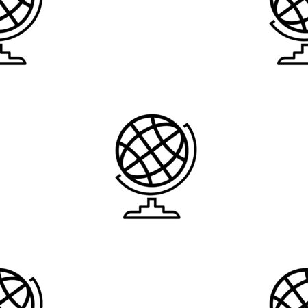 Globe. Vector Patterns in a Linear Style. Geology, Archeology, Geography, History. Vector illustration. White Isolated background