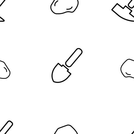 Shovel and Geological Hammer. Vector Patterns in a Linear Style. Geology, Archeology, History. Vector illustration. White Isolated background Stock Illustratie