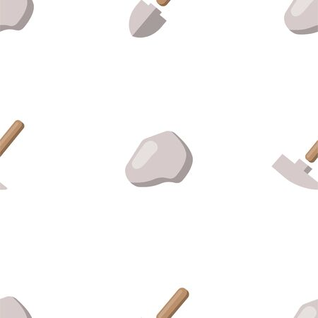 Shovel and Geological Hammer. Vector Patterns in a Flat Style. Geology, Archeology, History. Vector illustration. White Isolated background