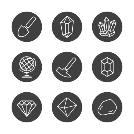 Geology Icons Set for Science, School, University. Linear Style. Geological Hammer, Shovel, Globe, Crystal, Stone. Collection Infographic logo and Pictogram. White Isolated Background