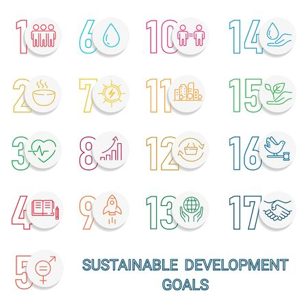 Icons Set Global Business, Economics and Marketing. Linear Style Icons. Sustainable Development Goals.White Isolated Background 向量圖像