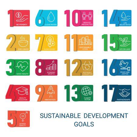 Icons Set Global Business, Economics and Marketing. Linear Style Icons. Sustainable Development Goals.White Isolated Background Çizim