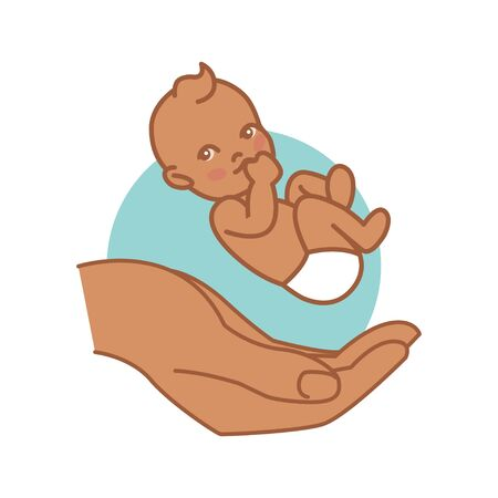 Newborn on Hand. Indian Baby. Pediatric Clinic Logo in a Flat Style. Colored Vector Illustration. White Isolated Background. Child Care, Children Clinic.