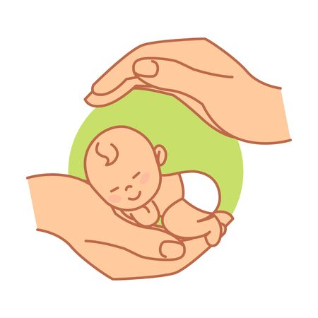 Newborn. Asian Baby. Protection and Care for Baby. Logo in a Flat style. Colored Vector Illustration. White Isolated Background.