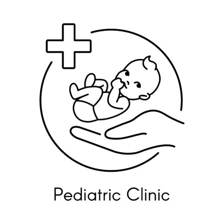 Newborn on Hand. Pediatric Clinic Logo in a Linear Style. Vector Illustration. White Isolated Background. Child Care, Children's Clinic. Logo