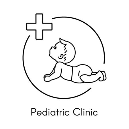 Newborn. Pediatric Clinic Logo in a Linear Style. Vector Illustration. White Isolated Background. Child Care, Children Clinic.