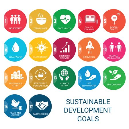 Icons Set Global Business, Economics and Marketing. Flat Style Icons. Sustainable Development Goals.White Isolated Background