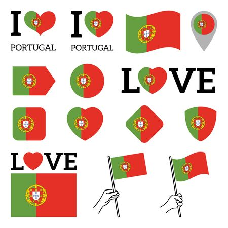 Flag of Portugal. Set of Vector Flags of Various Shapes. I Love Portugal. EPS Illustration. Isolated Background. Banque d'images - 139499374