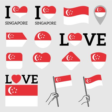 Flag of Singapore. Set of Vector Flags of Various Shapes. I Love Singapore. EPS Illustration. Isolated Background. Banque d'images - 139499380