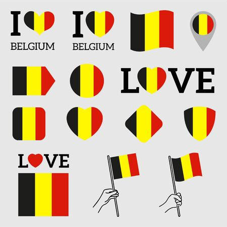 Flag of Belgium. Set of Vector Flags of Various Shapes. I Love Belgium. EPS Illustration. Isolated Background. Banque d'images - 139394202
