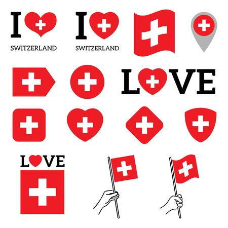 Flag of Switzerland. Set of Vector Flags of Various Shapes. I Love Switzerland. EPS Illustration. Isolated Background. Banque d'images - 139502227