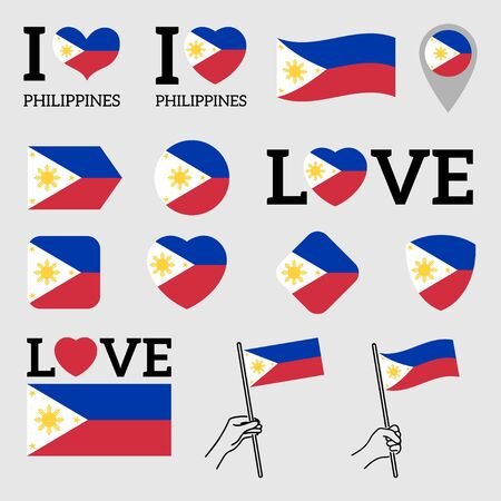 Flag of Philippines. Set of Vector Flags of Various Shapes. I Love Philippines. EPS Illustration. Isolated Background. Banque d'images - 139599530